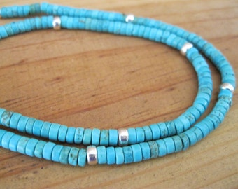Turquoise and Sterling Silver Heishi Necklace, Native American Necklace, Turquoise Necklace, Mens Turquoise Necklace, Tribal Necklace