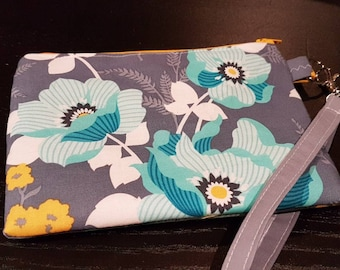 Teal and Yellow Floral Wristlet