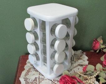 Spice Rack Swivel With 16 Jars Vintage Glass Bottles Upcycled Rotating Holder