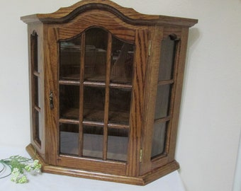 Superior Wood Curio Cabinet With Glass Door Vintage Oak