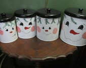 Metal Canister Snowmen Upcycled Vintage Set of 4 Metal Seasonal Containers Hand Painted