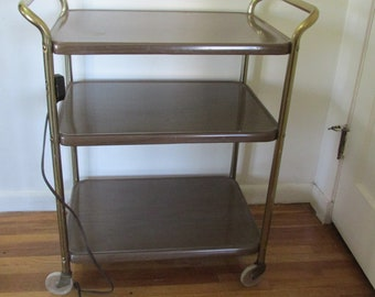 Metal Rolling Cart Serving Trolley Utility Shelves Vintage Brown 3 Tier With Handles And Outlet