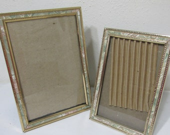 Vintage Miniature Picture Frame in Golden Brass with Sweet Repousse Forget Me Not Flower Design and Easel Back and Backing Paper