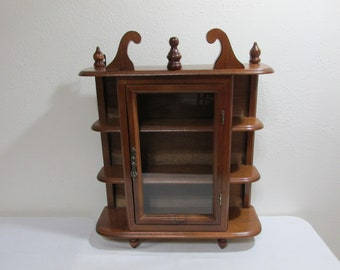 Quick View. Wood Curio Cabinet With Glass Door Wall Mount ...
