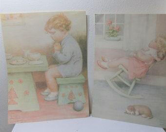 Little Boy Praying Charlot Byj Quilting Fabric Block