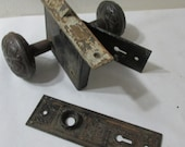 Door Knobs Backplates and Mortise Lock Vintage Decorative Archtectural Salvage