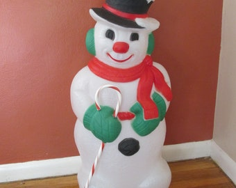 snowman blow mold with candy cane 32 inches lighted - Outdoor Snowman Christmas Decorations