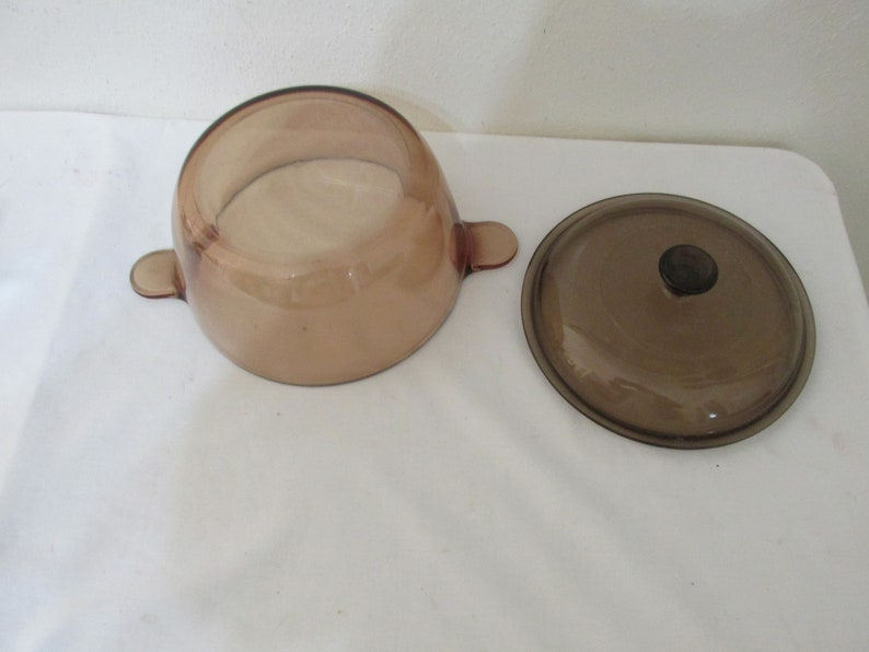 Corning Visions Covered Dutch Oven vintage Small 1.5 Liter Stock Pot Amber