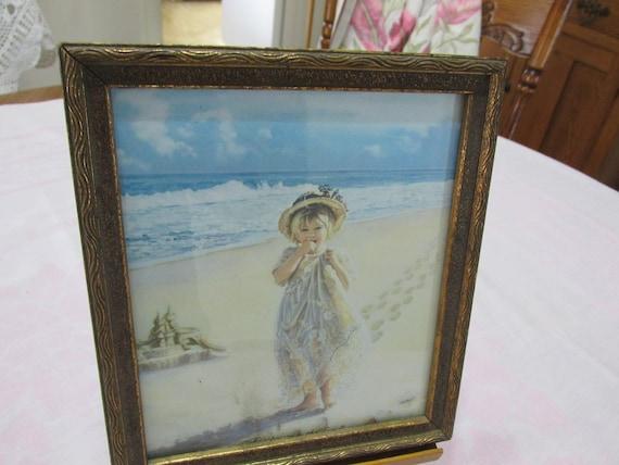 Picture Sand Footprints Little Girl Sandcastle Vintage Wood Frame ...