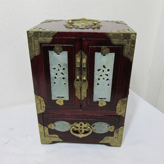 Oriental Jewelry Box Vintage Carved Jade with Lock
