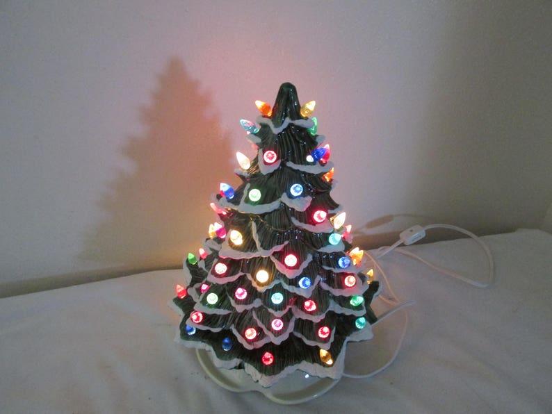 Ceramic Christmas Tree Lighted 13 Inch With Regular Light Bulb 13 Inch