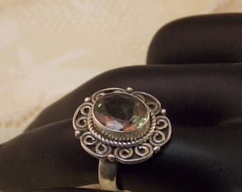 Mystic Topaz Sterling Ring size 6.5