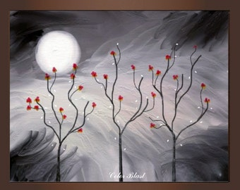 Abstract Landscape Art Print- Red flowers in my dream- Free Shipping inside US.