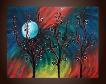 Peacock Inspiration- Abstract Landscape Painting Print. Free Shipping inside US.
