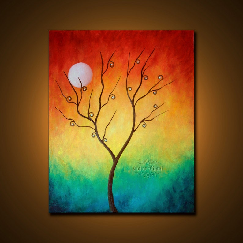 Original Oil Painting. Colorful Abstract Landscape Fine Art image 0