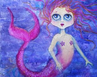 Mermaid - Original painting - Sweet Little Ocean Siren
