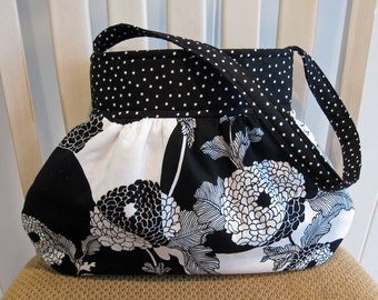 Small Gathered Bag in Alexander Henry's Yoko Fabric in Black and White