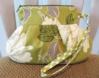 Handmade Fabric Wristlet in Amy Butler's Lotus Peony in Lime