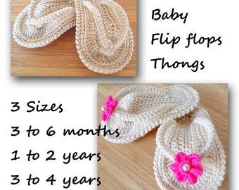 Crochet Flip Flops Baby Thongs Pattern 3 Sizes PDF