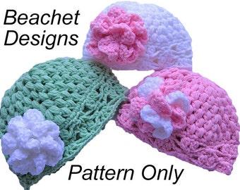 Crochet Baby Beanie Pattern PDF  with Flower 3 Sizes