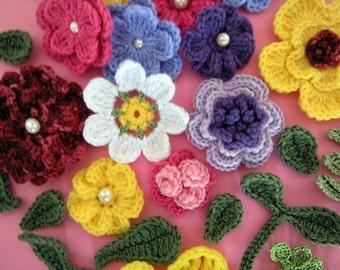 Crochet Flowers Appliques and Leaves 14  Crochet Patterns PDF