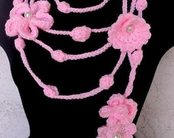 Crochet Lariat Pattern Flowers & Leaves PDF