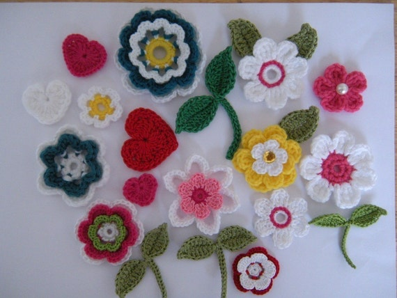 Crochet Flower Applique Patterns 60 Flowers 60 Leaves 60 Heart Etsy Cool Applique Patterns Flowers