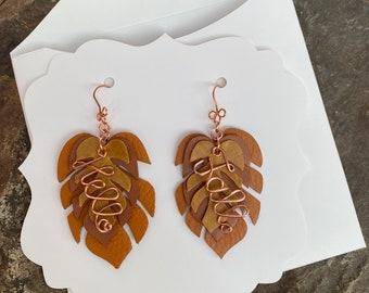 Hello Fall Leather Earrings, Leather Leaf Earrings, Handmade Leather Earrings, Autumn Dangle Earrings, Hello Fall