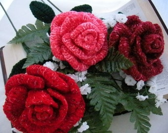 Crochet Rose Flower Pattern Crochet Flowers Crochet Roses Pattern Crochet Rose Bouquet Flowers Patterns Wedding Bouquet Flowers Pattern Pdf