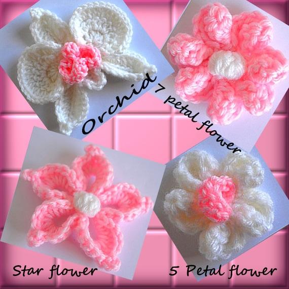 Crochet Flowers Orchid Star Flower 5 Petal Flower 7 Petal Flower ...