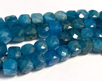 Neon Blue Apatite faceted cubes 4 petite beads