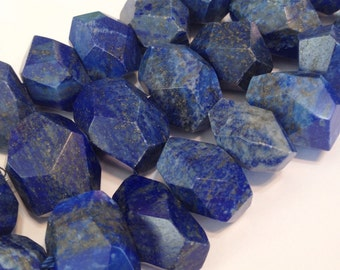 "Lapis faceted side drilled nuggets 4"" strand AAA premium quality"