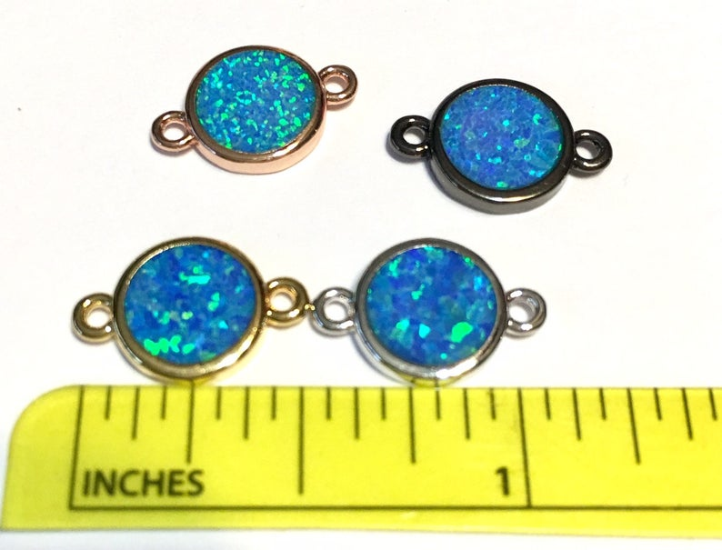 Blue opal charm connector 4 metal colors to choose from