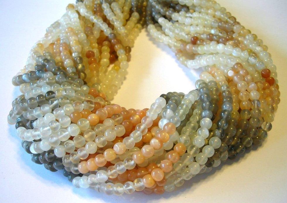 Multi colored moonstone gemstone shaded round beads full ...