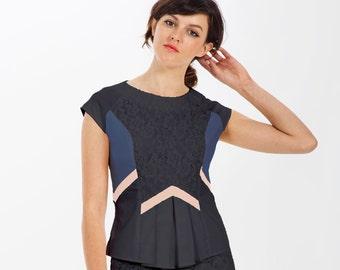 45c22a70 Organic Clothes / Organic Cotton / Organic Fashion / Peplum / Peplum Top /  Pleat Top / Cap Sleeve Blouse / Geo Fashion / Eco Fashion