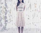 Chiffon Skirt / Metallic Skirt / SALE / Summer Fashion / Embroidered Skirt / Floral Skirt / Pastel Skirt / SS14 / Amaranth Skirt