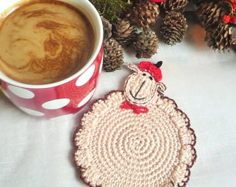 Sheep Coasters - Crochet Coasters - Lamb Coasters - Sheep Rug Mug - Country Decor - Kitchen Decor - Gift for Her - Gift for Mom - Set of 2