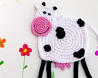 Cow Kids Coaster - Cow Gifts for Kids - Cow Nursery Decor - Farm Animal Cow - Cow Lovers Gift