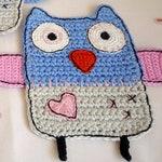 Blue Owl Crochet  Coaster - Bird Coaster - Animal Coaster - Owl Kitchen Decor - Gift for Teachers - Stocking Stuffers