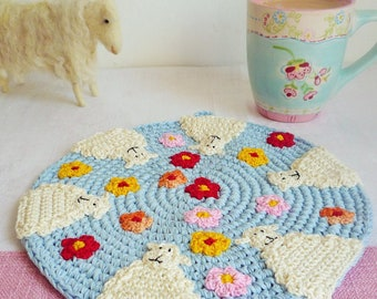 Blue Crochet Sheep Hot Pad