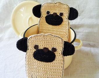 Funny Pug Potholders - Pug Lover Gift  - Crochet Pug Dog -  Gift for Dog Lover - Crochet Potholders - Set of 2