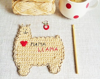 Mama Llama Crochet Coaster - Mother's Day Gift