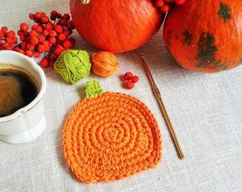 Orange Pumpkin Coaster Pattern - Crochet Pumpkin Rug Mug - Pumpkin Rug Mug Pattern - Autumn Decor - Thanksgiving Decor -  Rustic Table Decor