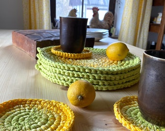 Round Lemon Green and Yellow Place Mats - Farmhouse Kitchen Decor - Rustic Hot Pads - Unique Wedding Gift -Eco-Friendly Cotton Placemats