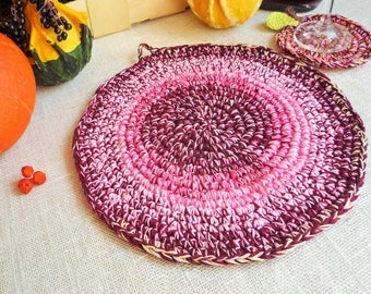 Crochet Burgundy Hot Pad - Autumn Table Decor - Country Kitchen Decor - Crochet Burgundy Place Mat - Farmhouse Table Decor - Gift for Mom