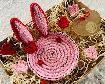 Valentine the Bunny Rabbit Crochet Coaster - Animal Coaster - Kitchen Table Decor - Gift for Bunny Lover - Romantic Valentines Gift