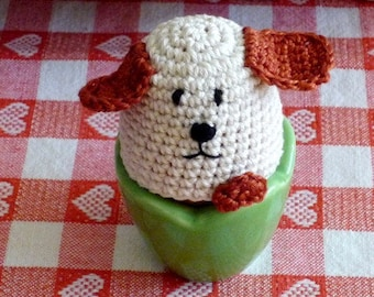 Crochet Dog Egg Cozy - Dog Warmers - Everyday Gift - Farmhouse Kitchen Decor - Gift for Dog Lover - Housewarming Gift -  2 pc