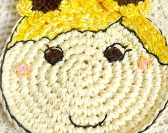 Sunflower Coaster - Sunflower Doll - Crochet Coaster - Sunflower Mug Rug - Sunflower Lover - Gift for Teacher - Gift for Her - Gift for Mom