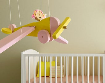 Pink Flying Airplane  Nursery Mobile - Eco Friendly Wooden Toy - Keepsake Toy for Girl - Kids Room Decor - Christmas Gift for Grandkids