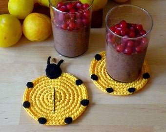 Crochet Ladybug Coasters - Crochet Drink Coasters - Farmhouse Style Gift - Animal Coasters - Christmas Gift - Stocking Stuffer - set of 2